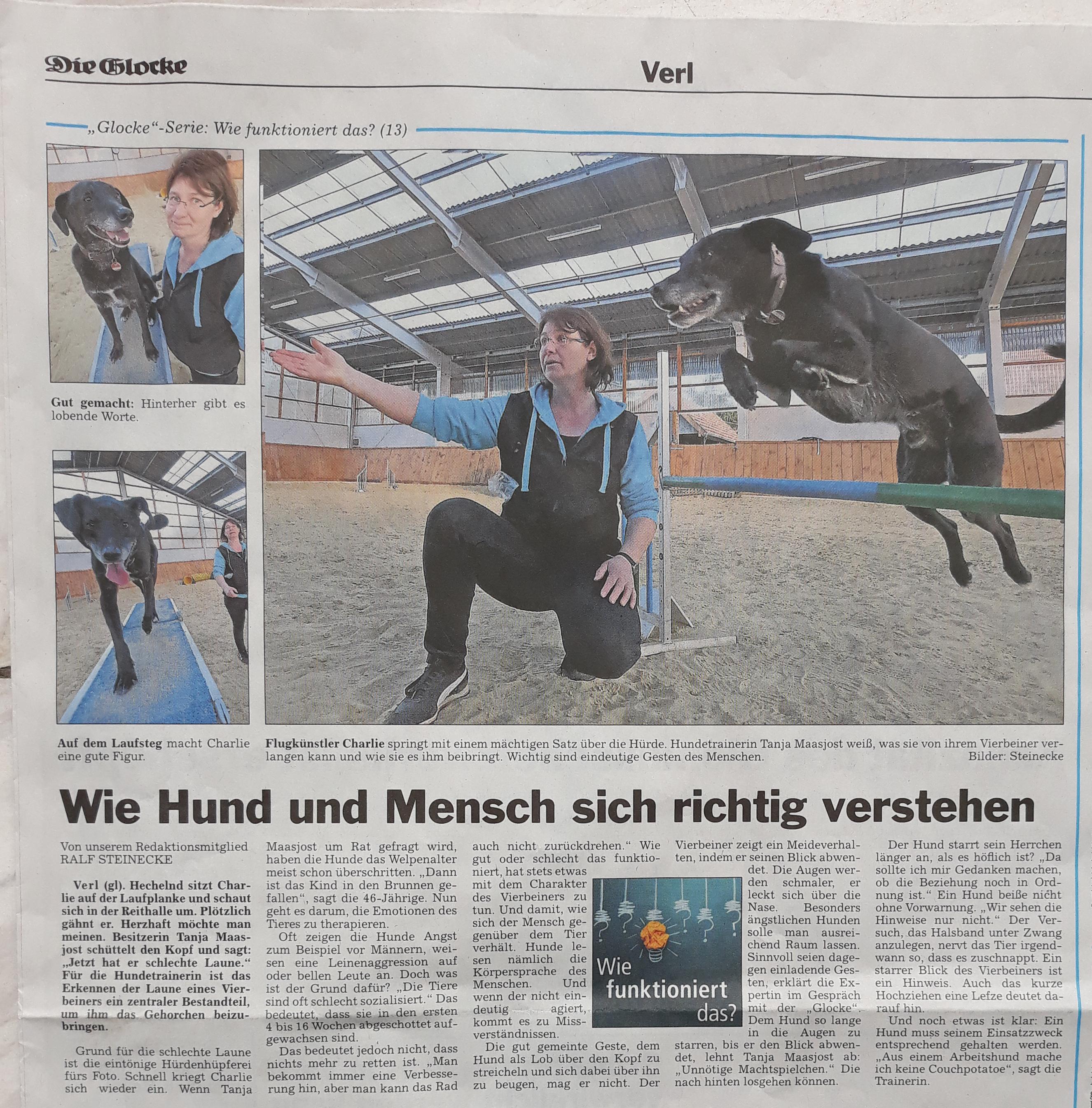 Zeitungsartikel von Hundeschule MATA